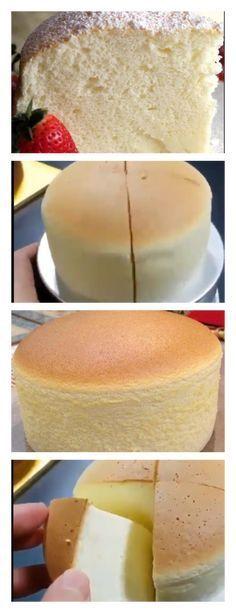ESTE BOLO MOLE É O MAIS FOFINHO E MACIO QUE VOCÊ JÁ VIU! É COMO ANDAR NAS NUVENS! ⅔ de xícara de leite (130ml) 100g de cream cheese 7 colheres de sopa de manteiga (100g) 8 gemas de ovos ½ xícara de farinha (60g) ½ xícara de amido de milho (60g) 13 claras de ovos grandes ⅔ de xícara de açúcar cristal (130g) Papel manteiga Morangos, para servir Açúcar de confeiteiro, para servir Modo de preparo: 1. Preaqueça o forno a 160º C. 2. Em uma panela pequena em fogo médio, misture o leite, o