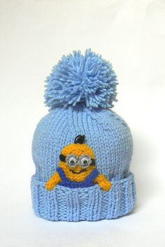 "Minion Hat for kids, Despictable Me Hat,  Pom Pom Hat, , Blue Yellow, Fall Hat, Kids Accessories, Children Clothing, 119-20"", Ready to ship"
