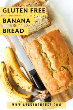 Gluten free banana bread is a super moist quick bread that will become your go-to banana bread! Use a gluten free flour mix to make this banana bread gluten free. No one will know that the gluten is missing! Gluten Free Flour Mix, Gluten Free Banana Bread, Make Banana Bread, Healthy Banana Bread, Baked Banana, Gluten Free Baking, Healthy Bread Recipes, Gluten Free Recipes For Breakfast, Gluten Free Breakfasts