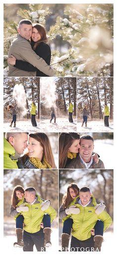 snow winter engagement portrait photo ideas...hmm chris has never seen snow. Thus would be cute.