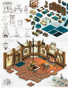 Game Textures, Isometric Art, Building Art, Environment Design, Game Design, Decoration, Continents, Pixel Art, Game Art