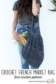 Crochet this easy market tote bag from Two of Wands from my crochet projects to make for craft fairs free pattern roundup!