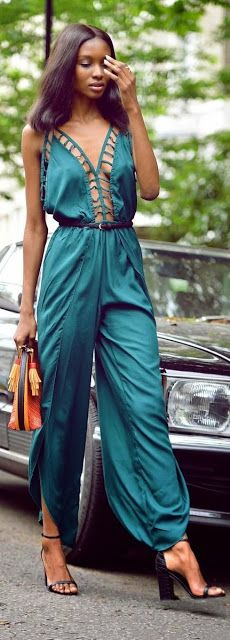 sexy teal jumpsuit