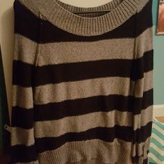 Black and gray striped sweater Excellent condition rarely worn Maurices Sweaters Crew & Scoop Necks