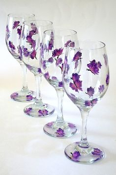 Set of 4 Hand Painted Wine Glasses Purple Butterflies Hand Painted Glassware Stemware Hand-painted Wine Glasses Painted Wine Glasses Custom (painted by Helen krupenina)