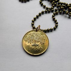 1977 Guinea-Bissau 1 Peso coin pendant necklace jewelry Legume Plant flowers blossom flowering Portuguese Guinea World Food Day No.000766 by acnyCOINJEWELRY on Etsy