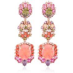 Anabela Chan Women Opals Drop Earrings (44.700 BRL) ❤ liked on Polyvore featuring jewelry, earrings, orange, opal drop earrings, opal jewellery, earrings jewelry, post earrings and drop clip earrings