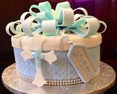 Baptism cake; guava sponge, guava and cream cheese filling