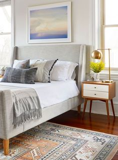 This master bedroom is a bright, calm and comfortable retreat. Designed by Sharp + Grey Interiors Photo by S Brenner Photography Gray Interior, Master Bedroom Interior, Farmhouse Master Bedroom, Dream Bedroom, Modern Bedroom, Master Bedrooms, Bedroom Interiors, Casual Bedroom, Casual Living Rooms
