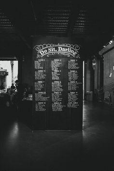 chalkboard seating chart (would be perfect for a twenties-themed wedding) Wedding Chalk Art, Chalkboard Wedding, Beach Wedding Favors, Wedding Reception Decorations, Wedding Souvenir, Wedding Table, Wedding Trends, Wedding Blog, Dream Wedding