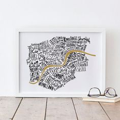 A4 London print - London map - London poster - London Art