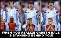 The UEFA Super Cup was played at Gareth Bale's hometown - Cardiff. And this young mascot didn't realize his hero was standing behind him