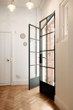 Black French Doors, Black Doors, Interior Double French Doors, Steel Frame Doors, Steel Doors And Windows, Crittal Doors, External French Doors, Internal Glazed Doors, Glass Front Door