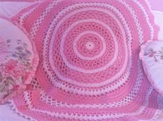 Round Pink and White Lacy Doily Blanket ThrowREADY TO by InChains, $54.00
