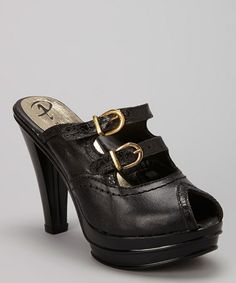 Love this Black Leather Peep-Toe Pump on #zulily! #zulilyfinds