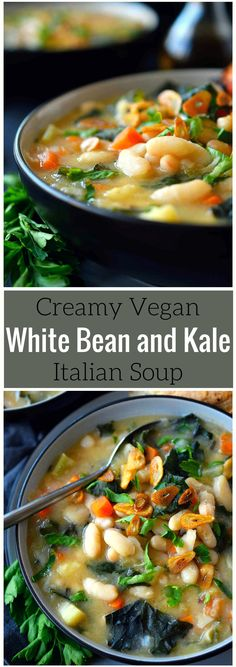 This vegan white bean and kale soup is easy to prepare in just 20 minutes, creamy and absolutely delicious! This is my version of the well-known Tuscan white bean soup with a secret ingredient in plac (Bean Soup Recipes) Vegan Soups, Vegan Dishes, Vegetarian Recipes, Healthy Recipes, Kale Soup Recipes, Vegetarian Kale Soup, Vegan Bean Soup, Vegan Dinner Recipes, Vegan Food