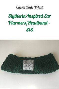 Support your Hogwarts house and keep your ears toasty and warm with this Slytherin-inspired ear warmer/headband. This deep green headband features a light gray knot. This piece is not licensed, but it was inspired by Harry Potter.