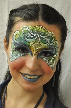 When you think about face painting designs, you probably think about simple kids face painting designs. Many people do not realize that face painting designs go Maquillage Halloween, Halloween Makeup, Halloween Face, The Face, Face And Body, Mask Face Paint, Adult Face Painting, Lorie, Fantasy Make Up