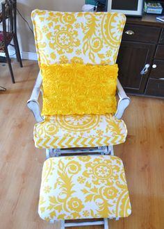 Update a Nursery Glider Rocking Chair. have the chair. now who can upholster? Rocking Chair Nursery, Rocking Chair Cushions, Diy Chair, Rocking Chairs, Nursery Glider Chair, Glider Cushions, Old Chairs, Camp Chairs, Desk Chairs