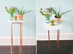 You better believe this chic copper side table is DIY.