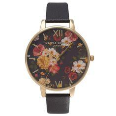 Olivia Burton Winter Garden Black & Gold Ladies Strap Watch