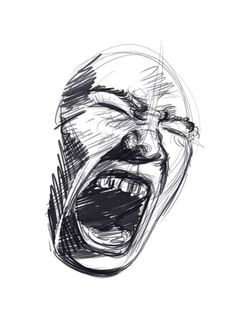 Creepy Sketches, Cool Art Drawings, Art Drawings Sketches, Sketch Art, Drawing Art, Screaming Drawing, Arte Obscura, Art Diary, Drawing Expressions