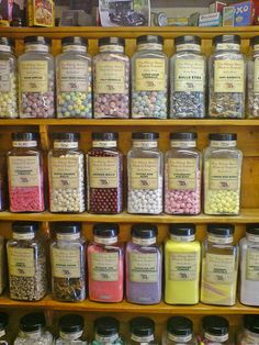 "Wares from ""The Oldest Sweet Shop in England"" at Pateley Bridge, Yorkshire, established in 1827."