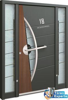Haustüre AEE 1077 von Inotherm mit Edelstahl Applikation und Holzdekor auf http://www.tueren-experte.de bestellen.