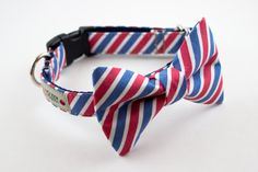 Silly Buddy makes all items by hand per order, per pup with much love and care. Please allow up to 21 days for your item to be created and sent out. We appreciate your patience, woof!  This very handsome collar is made by hand with a 100% cotton fabric and includes a removable dapper bow tie that secures to the collar from two points for an even sturdy grip.  HOW TO MEASURE - Before purchasing measure your pups neck circumference while he or she is sitting. Please make sure the measuring…