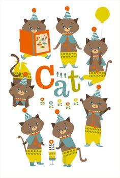 illustration  cat ねこ