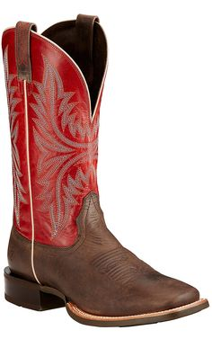 Ariat Cowhand Men's Murky Brown with Red Top Double Welt Square Toe Western Boots | Cavender's