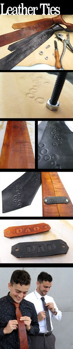 Leather Neckties - saved this pin for the idea for a stamp made from a nut. Leather Stamps, Leather Art, Leather Design, Leather Cuffs, Leather Tooling, Leather Jewelry, Sewing Leather, Custom Leather, Handmade Leather