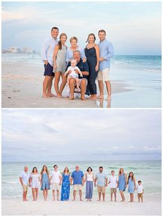 Extended Family Pictures on the beach. Choosing to wear neutrals and shades of blues.