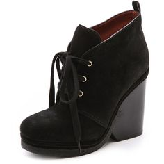 Marc by Marc Jacobs Lace Up Suede Platform Booties (3,395 MXN) ❤ liked on Polyvore featuring shoes, boots, ankle booties, wedges, zapatos, ankle boots, footwear, black, booties and black ankle boots