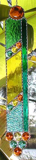 Stained Gl Cross Sun Catcher With Nuggets 7 X 10 Suncatchers And