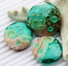 Teal green handmade lampwork beads  glass beads tabs by MayaHoney