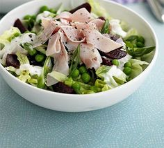 Ham & beetroot salad bowl recipe, A great light lunchtime salad that uses everyday ingredients in a new and interesting way Salad Recipes Video, Bbc Good Food Recipes, Healthy Salad Recipes, Pork Recipes, Lunch Recipes, Cooking Recipes, Yummy Recipes, Ham Salad, Watercress Salad