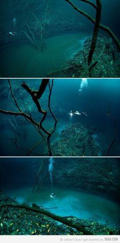 Hidden Underwater River Flowing Under the Ocean in Mexico.