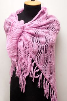 Knitted mohair pink shawl with tassels, knitted mohair wrap, women's knitted wrap, pink wrap by SanniKnitting on Etsy