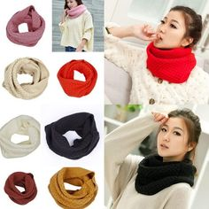 Women Chic Winter Warm Candy Color Pullover Collar Wave Knitted Scarf Wrap Shawl