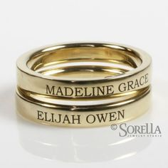 Engraved stackable rings with children's names on them I love this idea I will have to keep this mind :-)
