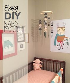 Super easy homemade, geometric baby mobile