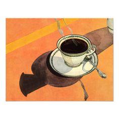 Taza del vintage de café, platillo, cuchara