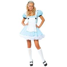 Sexy Alice In Wonderland Adult Costume for Women ($55) ❤ liked on Polyvore featuring costumes, halloween costumes, multicolor, sexy women halloween costumes, womens costumes, adult alice costume, womens snow white costume and sexy adult costumes