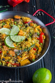 Caribbean paella - A Caribbean vegan rendition of a classical Spanish rice dish filled with an abundance of herbs, veggies and spices - dig in!