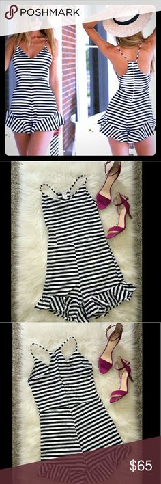 !SALE! ♡ Fun Black & White Striped Romper | *NWOT* Super fun, chic romper that can be dressed up or down... very versatile!! Zipper closure in back for premium fitting. Stretchy material. Measurements can be provided upon request.  Price is negotiable, make me an offer!! 😚💛 Boutique Dresses Mini