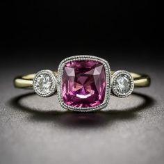 Intense Pink Sapphire and Diamond Ring - Vintage Gemstone Engagement Rings - Vintage Engagement Rings