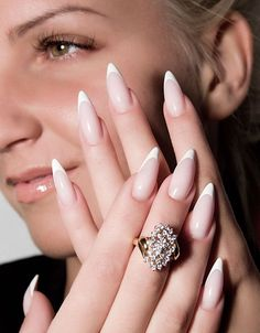 French manicure with pointed tips