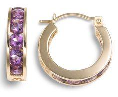 Gold Channel-Set Gemstone Hoop Earrings by earringsly Amethyst Jewelry, Amethyst Earrings, Birthstone Jewelry, Purple Earrings, Gold Hoop Earrings, Purple Jewelry, I Love Jewelry, Jewelry Design, Jewelry Box