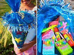 PARTY FAVORS: SCHULTUTE SCHOOL CONES -  A schultute is a German tradition where a child is given a cone on their first day of school filled with sweets, trinkets and back to school supplies.
